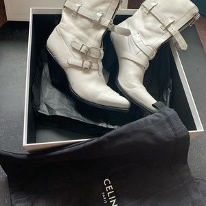 2019 Celine white medium boot 80 with zippers